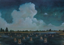 Elizabeth Foster - Night Swimming - 54x30in - oil on panel