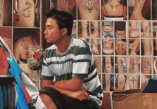 lee-alban-the-tattoo-artist-36x24-oil-on-linen