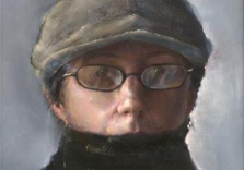 self-portrait-with-hat-and-scarf18x22oilonboard_karenkaapcke